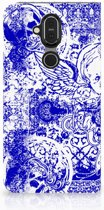 Mobiel BookCase Nokia 8.1 Angel Skull Blue
