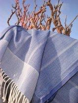 ZusenZomer Hamamdoek of Fouta Playa | Jeans blauw| 100x190 cm | visgraat geweven van 100% extra kwaliteit absorberend katoen | soepel & licht glanzend
