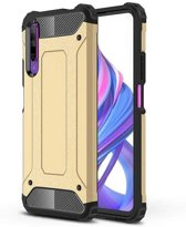 Teleplus Huawei P Smart Pro Case Dual Layer Tank Silicone Gold + Nano Screen Protector hoesje