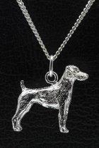 Zilveren Jack russell terrier parson gladhaar ketting hanger - groot