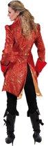 Middeleeuwen & Renaissance Kostuum | Met Brokaat Versierde Mantel En Vest Hertogin Rood | Vrouw | Medium | Carnaval kostuum | Verkleedkleding