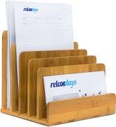 relaxdays Sorteerbak brieven tijdschriften organizer brief houder staand bamboe