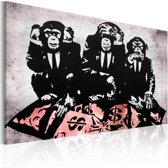 Schilderij - Banksy - Geld is een probleem, Zwart/Wit/Roze, 1luik