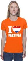 Oranje I love Maxima shirt dames XS