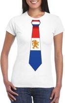 Wit t-shirt met Nederland vlag stropdas dames 2XL