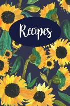 Recipes: Sunflower Navy Blank Recipe Book Journal to Write in Favorite Recipes and Meals (6''x9''), 120 Pages, Gift for Chef, Foo