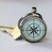 Vaderdag cadeau Kompas sleutelhanger zilver nautisch geschenk, leuk kerstcadeau voor hem of haar