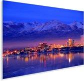 De stad Anchorage vlak na zonsondergang in Amerika Plexiglas 180x120 cm - Foto print op Glas (Plexiglas wanddecoratie) XXL / Groot formaat!