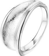 The Jewelry Collection Ring Poli/gescratcht - Zilver Gerhodineerd