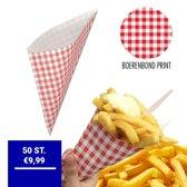 Papieren Frietzak | 50 stuks | Patatzak | Rode Print | Frietzakken | Puntzakken | Frietzakjes