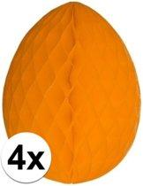 4x Decoratie paasei oranje 10 cm - Paasversiering / Paasdecoratie