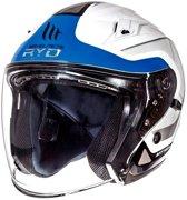 Helm MT Jet Avenue sv Crossroad wit/blauw L