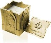 Geel goud gelakte Candellana betonkaars, Gothic Hoogte 11 cm (40 uur)