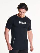 Pursue Fitness Fitted Shirt - Bodybuilding Shirt Mannen Zwart