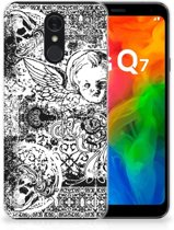 Silicone Back Case LG Q7 Skulls Angel