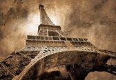 Fotobehang Paris Eiffel Tower Sepia | PANORAMIC - 250cm x 104cm | 130g/m2 Vlies
