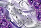 Fotobehang Purple Floral Diamond Abstract Modern | PANORAMIC - 250cm x 104cm | 130g/m2 Vlies