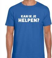 Can i help you beurs/evenementen t-shirt blauw heren - verkoop/horeca L