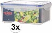3x stuks Thermos airtight vershoud doosjes/bakjes van 1.4 liter