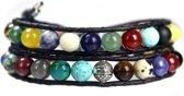 Bela Donaco Wikkelarmband Classic B8 – Mixed color – Diverse edelstenen – Sterling Zilver – leer