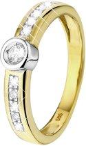 Lucardi 14 Karaat Geelgouden Ring - Met 11 Diamanten - Maat 55