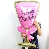 "Folieballon roze glas bubbels ""Happy Birthday"""