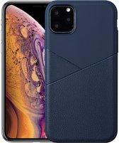 Hoesje voor Apple iPhone 11 Pro, gel case half lederlook, navy blauw