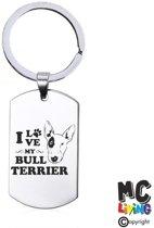 Sleutelhanger RVS - I Love My Bull Terrier