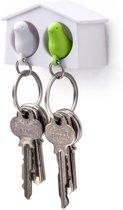 Qualy Mini Sparrow Duo sleutelhanger - Wit/Groen