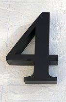 Huisnummer 4 RVS Zwart 3D - Hoogte 15 cm - Dikte 3 cm - Promessa-Design - Type 3D/15/Zwart Roma.