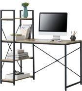 [en.casa] Bureau met 4 planken Emmen - zwart en hout