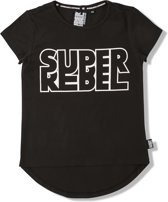 Superrebel Meisjes T-shirt - Black - Maat 152