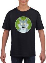 Kinder t-shirt zwart met vrolijke wolf print - wolven shirt M (134-140)