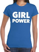 Girl Power tekst t-shirt blauw dames - dames shirt Girl Power M