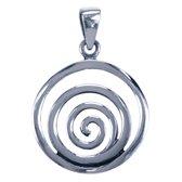 Zilveren Spiraal in dubbele ring ketting hanger