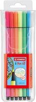 STABILO Pen 68 Neon Viltstiften - Etui 6 stuks