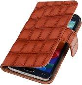 Samsung Galaxy S5 mini G800F Bruin | Glans Croco bookstyle / book case/ wallet case Hoes  | WN™