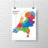 Poster landkaart Nederland - Provincies - Hoofdsteden 60x66