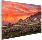 Zonsondergang India Hout 80x60 cm - Foto print op Hout (Wanddecoratie)