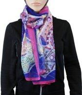 Sjaal 100% Polyester Paars Blauw