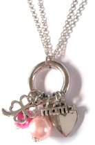 Jewellicious Designs Silver & Pink Mama ketting - kraamcadeau meisje - geboortecadeau - zilver roze