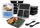 Meal Prep Bakjes + Sporks & Sausbakjes - 10 stuks - Vershouddoos - Mealprep Container Met Deksel - 3 Afgesloten Compartimenten - Lunchbox - 1000ml inhoud - BPA vrij - Magnetron En Diepvriesbestendig