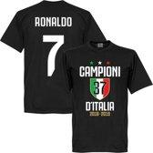 Campioni D'Italia 37 Ronaldo 7 T-Shirt - Zwart - S