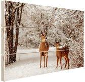 Herten in de sneeuw Hout 160x120 cm - Foto print op Hout (Wanddecoratie) XXL / Groot formaat!