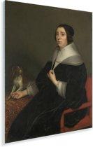 Portret van een vrouw - Schilderij van Gerard van Honthorst Plexiglas 120x160 cm - Foto print op Glas (Plexiglas wanddecoratie) XXL / Groot formaat!