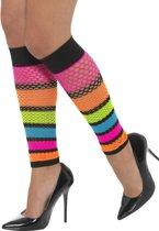 Fluo netstof beenwarmers voor vrouwen - Verkleedattribuut
