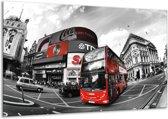 Glasschilderij London   Zwart, Grijs, Rood   120x70cm 1Luik   Foto print op Glas    F002318