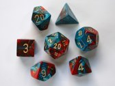 Chessex dobbelstenen set, 7 polydice, Gemini red-teal w/gold