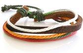 Multicolor armband met koordjes van leer en touw