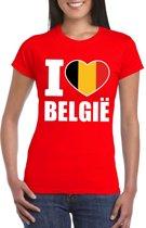 Rood I love Belgie shirt dames XS